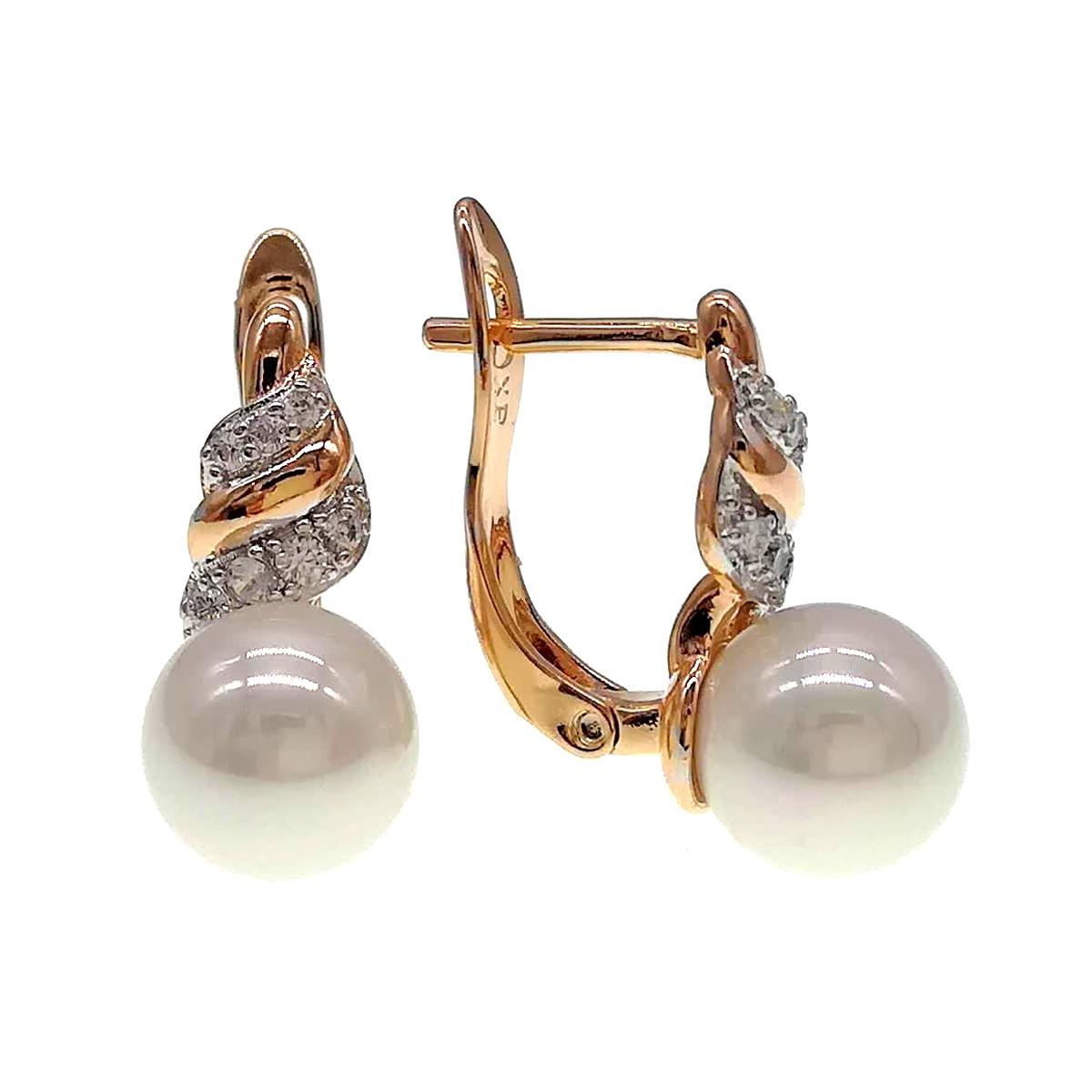 """Сережки Xuping з медичного золота, штучний перли """"майорка"""" і фіаніти, позолота 18К + родій, 24432 (1)"""