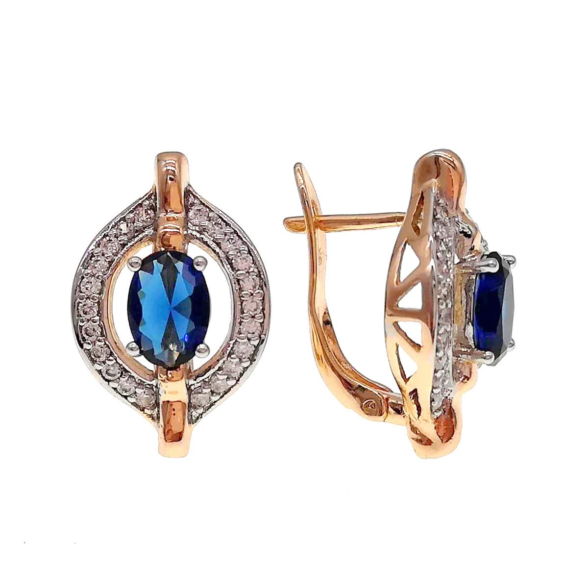Серьги Xuping из медицинского золота, синие фианиты, позолота 18К + родий, 24426       (1)