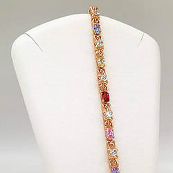 """Браслет Xuping """"Сияние"""" из медицинского золота, разноцветные фианиты, позолота 18K, 52046       (19 см)"""