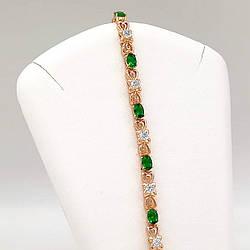 """Браслет Xuping """"Сяйво"""" з медичного золота, зелені фіаніти, позолота 18K, 52043 (19 см)"""