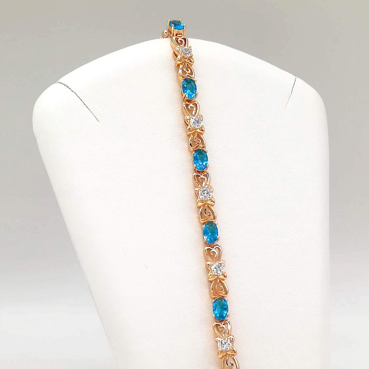 """Браслет Xuping """"Сияние"""" из медицинского золота, голубые фианиты, позолота 18K, 52044       (19 см)"""
