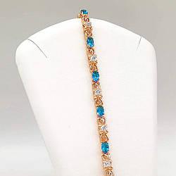 """Браслет Xuping """"Сяйво"""" з медичного золота, блакитні фіаніти, позолота 18K, 52044 (19 см)"""