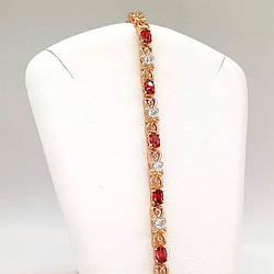 """Браслет Xuping """"Сяйво"""" з медичного золота, червоні фіаніти, позолота 18K, 52045 (19 см)"""