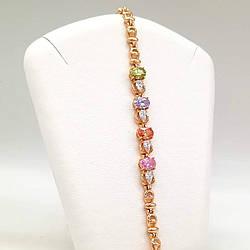 """Браслет Xuping """"Восход"""" из медицинского золота, разноцветные фианиты, позолота 18K, 52048       (19 см)"""