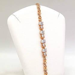 """Браслет Xuping """"Восход"""" из медицинского золота, белые фианиты, позолота 18K, 52047       (19 см)"""