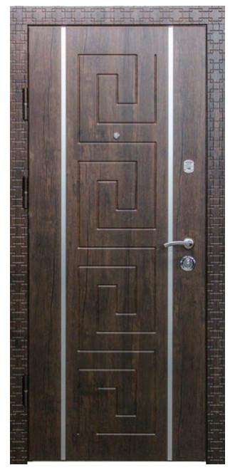 """Входные двери металлические, рис. """"БМ"""" №9, Цвет Тиковое дерево. Наличник Карэ. Алюминиевая полоса 20 мм"""
