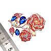 """Брошка SONATA """"Роза"""",  разноцветные фианиты, позолота 18K,  95963                         (1), фото 3"""