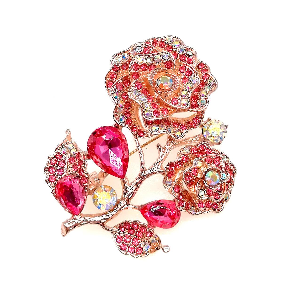 """Брошка SONATA """"Роза"""",  разноцветные фианиты, позолота 18K, 95964                                           (1)"""