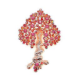 """Брошка SONATA """"Дерево жизни"""",  розовые фианиты, позолота 18K,  95978"""