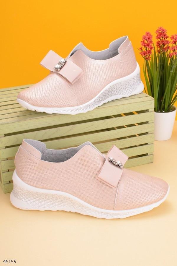 Женские туфли / мокасины розовые / золотистые эко кожа