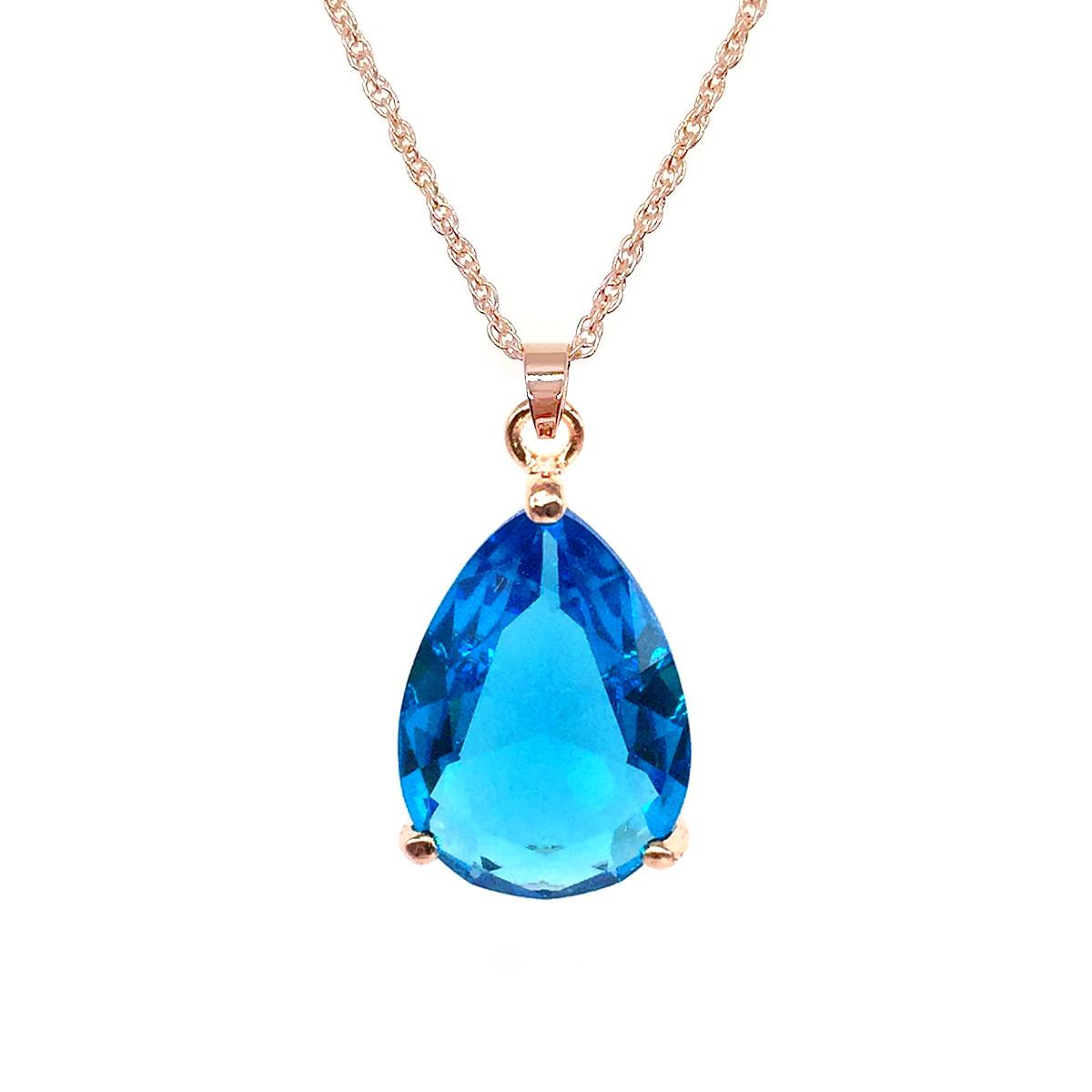 Подвеска на цепочке SONATA, из медицинского золота, голубой фианит, позолота PO, 42322