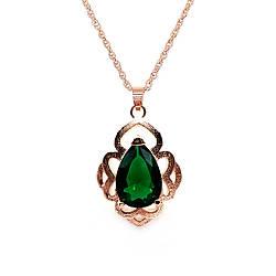 Подвеска на цепочке SONATA, из медицинского золота, зеленый фианит, позолота PO, 42328