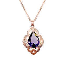 Подвеска на цепочке SONATA из медицинского золота, фиолетовый фианит, позолота PO, 42329