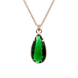 Подвеска на цепочке SONATA, из медицинского золота, зеленый фианит, позолота PO, 42334