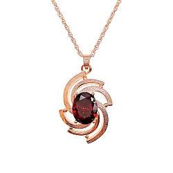 Подвеска на цепочке SONATA, из медицинского золота, темно-красный фианит, позолота PO, 42352