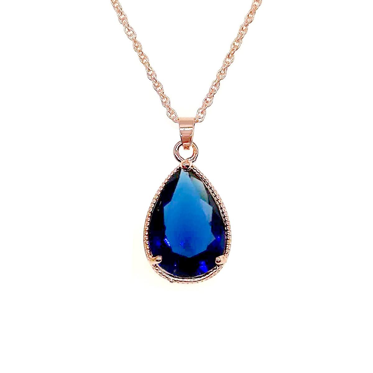 Подвеска на цепочке SONATA, из медицинского золота, синий фианит, позолота PO, 42354
