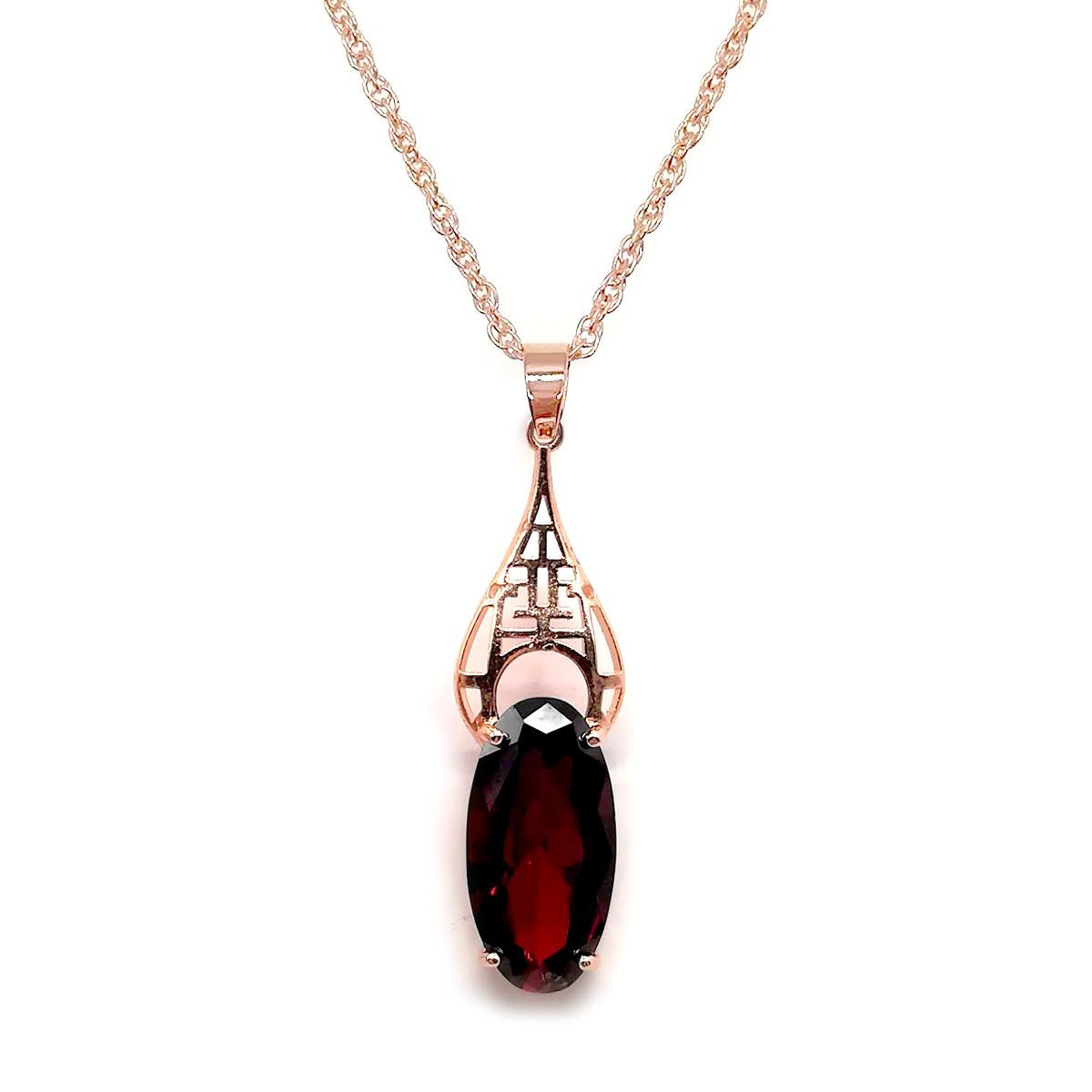 Подвеска на цепочке SONATA из медицинского золота, темно-красный фианит, позолота PO, 42356
