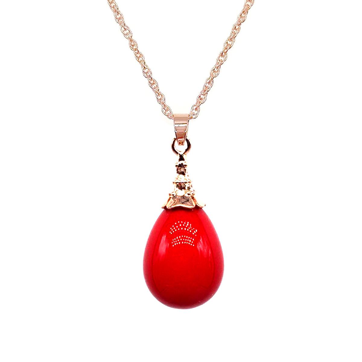 """Подвеска на цепочке SONATA из медицинского золота, красная жемчужина """"майорка"""", позолота PO, 42365"""