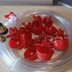 Комплект микрочашечных поилок на 150 голов красная