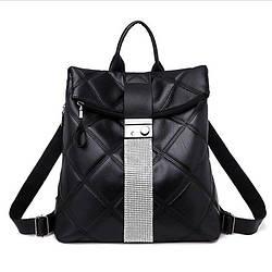 Женский рюкзак-сумка черный с серебряным декором прошит