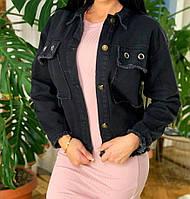 Красивая джинсовая куртка,джинсовка черного цвета,ветровка, см. замеры в описании!!!, фото 1