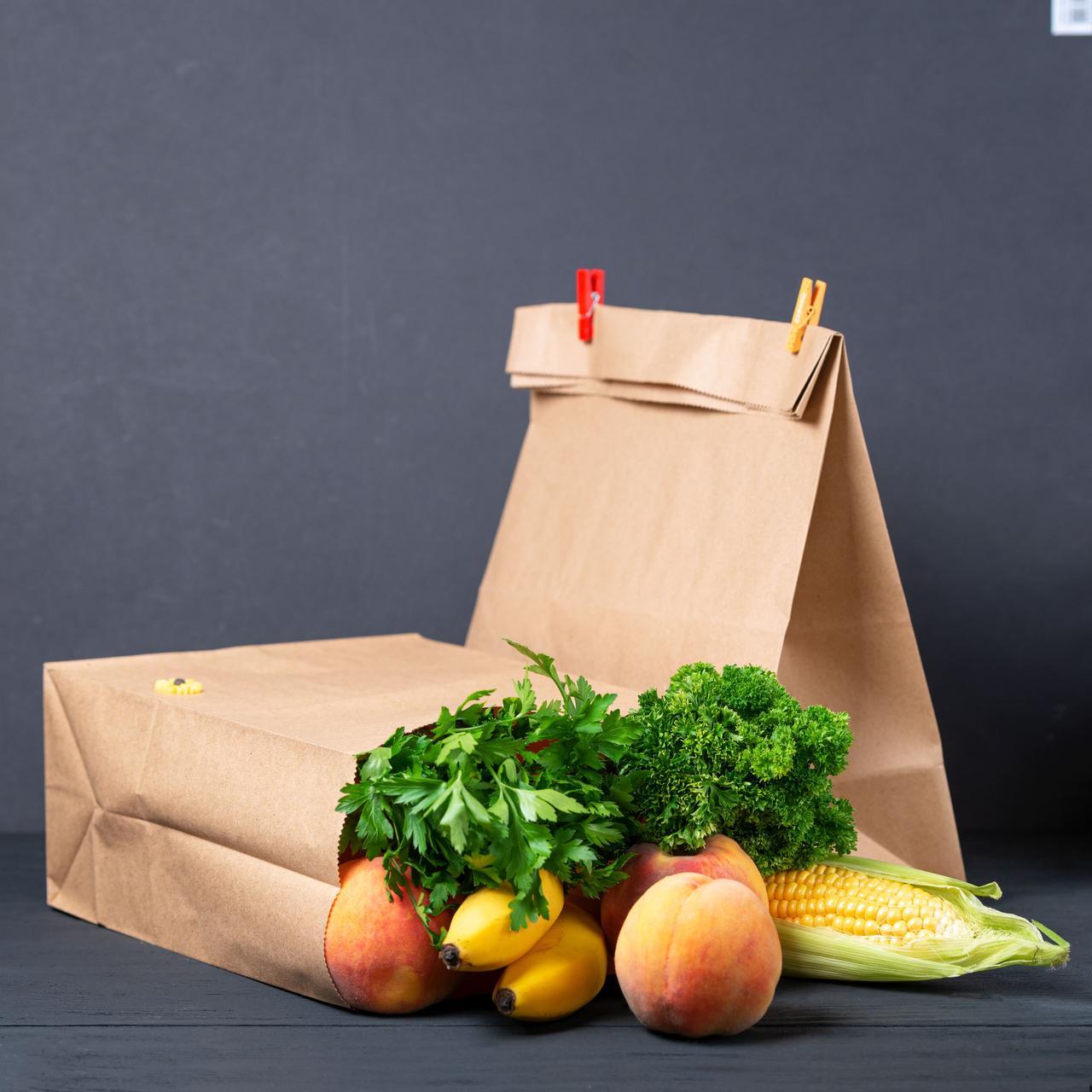 Крафт пакет з широким дном 260*150*350 мм для їжі з собою