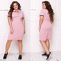 Спортивное платье поло  х/б, розовый, №214, 48-58р.