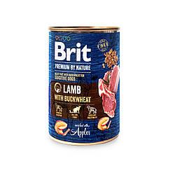 Консерва Brit Premium by Nature Бріт Преміум ягня з гречкою 400 г