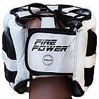 Шлем боксерский с бампером FIREPOWER FPHG6 Black/White, фото 4