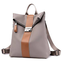 Женский рюкзак-сумка светло коричневый с полоской