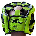 Шлем боксерский с бампером FIREPOWER FPHG6 Black/Green, фото 3