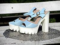 Жіночі Блакитні Літні Босоніжки на високому каблуці, фото 1