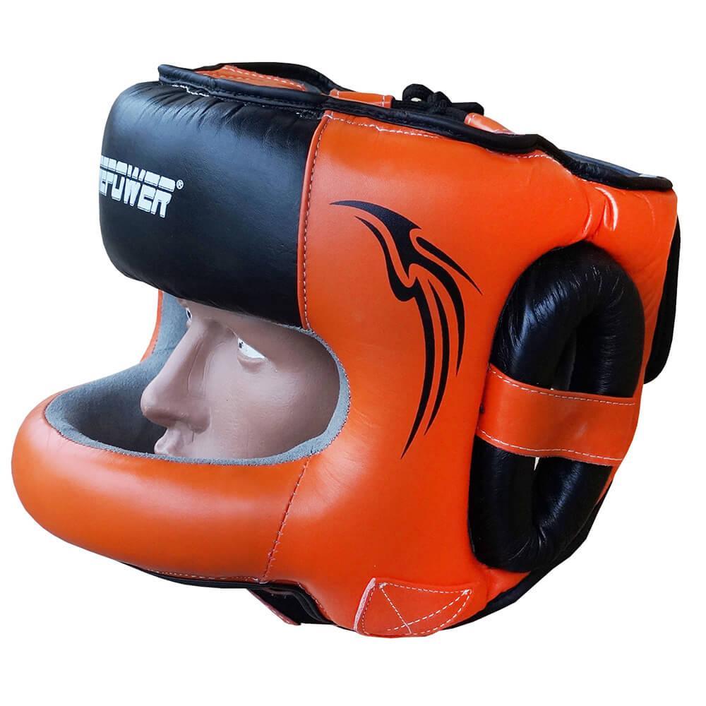 Шлем боксерский с бампером FIREPOWER FPHG6 Black/Orange