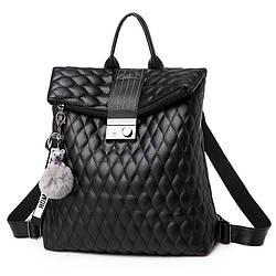 Женский рюкзак-сумка черный с брелком