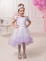 Элегантное детское  платье с аппликацией и пышной юбкой до колен