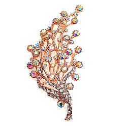 """Брошка SONATA, фианиты цвета """"хамелеон"""", позолота 18K,  95980                                           (1)"""