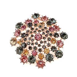 Брошка SONATA,  разноцветные фианиты, позолота 18K,  95970                                                 (1)