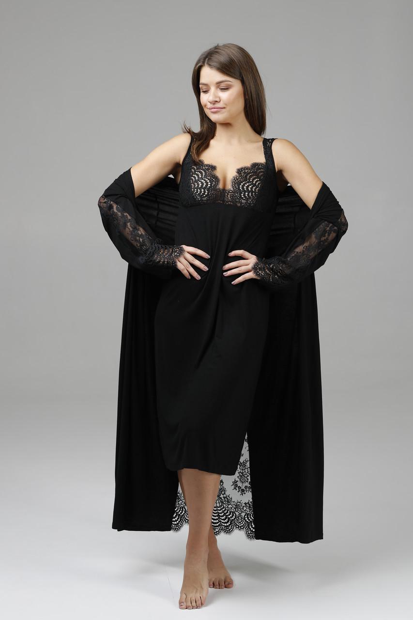 Домашній жіночий комплект Effetto 10501C+10502C (сорочка і халат)