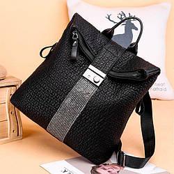 Женский рюкзак-сумка черный с серебряным декором