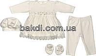 Крестильное нарядное платье костюм рост 74 6-9 мес велюр молочный на девочку комплект костюмчик одежда для крещения крестин новорожденных малышей М075