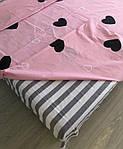 Семейный комплект постельного белья с сердцами (розовый), фото 2