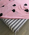 Сімейний комплект постільної білизни з серцями (рожевий), фото 2