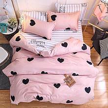 Сімейний комплект постільної білизни з серцями (рожевий)