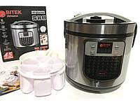 Мультиварка з йогуртницей BITEK 45 програм, 1500 Вт, 6 літрів Срібляста, фото 1