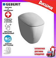 Напольный унитаз приставной без ободка под скрытый бачок Geberit Citterio 500.512.01.1 с сиденьем soft-close