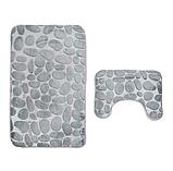 Набір з 2-х плюшевих килимків «Галька» 50×80 см, сірий, фото 2