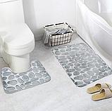 Набір з 2-х плюшевих килимків «Галька» 50×80 см, сірий, фото 3