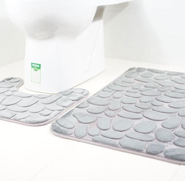 Набір з 2-х плюшевих килимків «Галька» 50×80 см, сірий