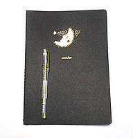 Блокнот с черными страницами 25,5 см. + ручка с золотистыми чернилами Луна