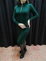 Платье женское зеленое вязаное в рубчик резинкой
